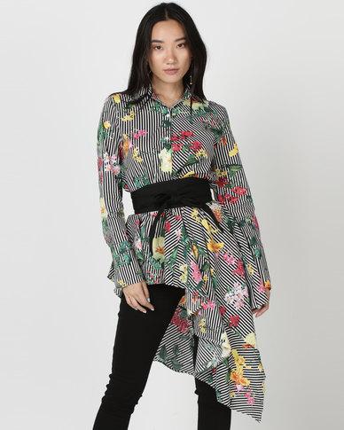 Utopia Asymmetrical Shirt With Belt Tropical Print