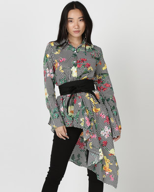 Utopia Asymmetrical Shirt With Belt Tropical Print