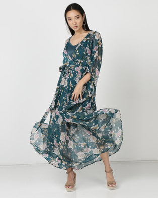 cd55cdad2c G Couture Kimono Sleeve Lined Maxi Dress Teal