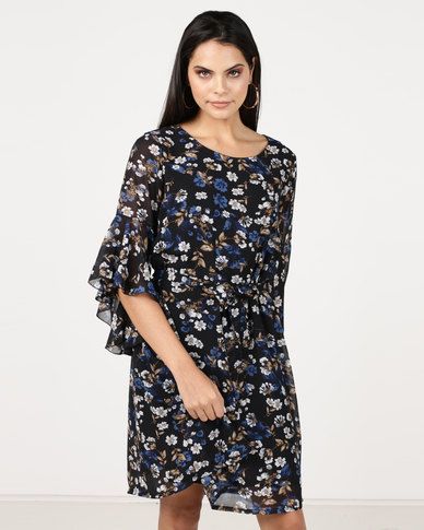 G Couture Frill Sleeve Printed Tunic With Waist Tie Blue