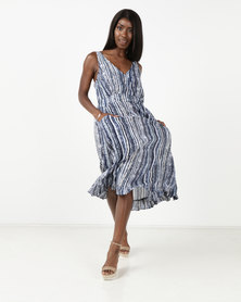 G Couture Stripe Dress with Pockets Blue