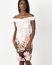 G Couture Off the Shoulder Flower Print Dress Multi