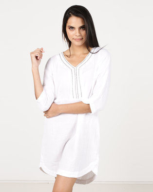G Couture V Neck Linen Tunic with Chain Neckline White