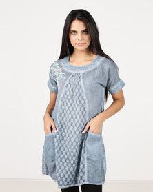 G Couture Short Sleeved Tunic With Shoulder Embroidery Blue
