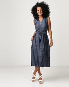 G Couture Button Down Tencil Dress Blue