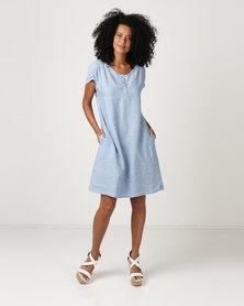 G Couture Linen Tunic With Rouching And Pockets Blue