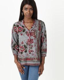 G Couture Rose Print Border Design Blouse Multi