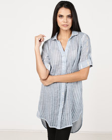 G Couture Metallic Stripe Shirt Blue