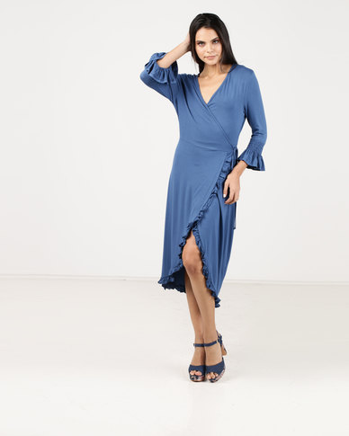 G Couture Smocked Sleeve Wrap Dress Blue
