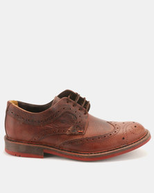 Bronx Men Jump Leather Brogues Red Brown