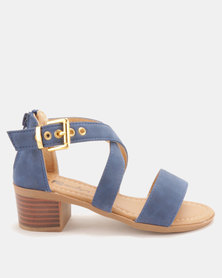 Candy Strap Heeled Sandals Navy
