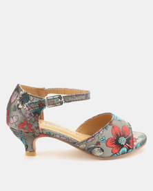Candy Peep Toe Brocade Heeled Shoes Light Grey