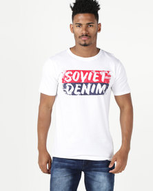 Soviet Pirates Short Sleeve Crew Neck Logo Tee White