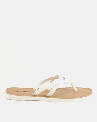 b10942581bf0 Call It Spring Alirawen Flat Slip On Sandals White