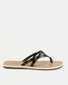 Call It Spring Alirawen Flat Slip On Sandals Black