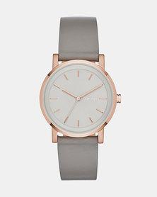DKNY Soho Leather Watch Grey