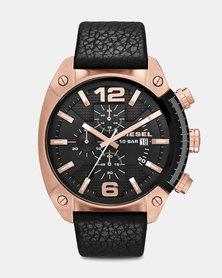 Diesel Overflow Leather Watch Black/Rose Gold