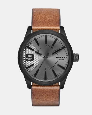 2bd55eed6 Diesel Mega Chief Leather Watch Textured Tan | Zando