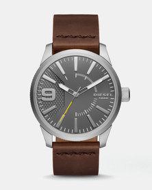 Diesel Rasp Leather Watch Dark Brown