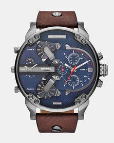 Diesel Mr Daddy 2.0 Leather Watch Dark Brown