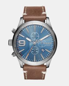 Diesel Rasp Leather Watch Brown/Blue