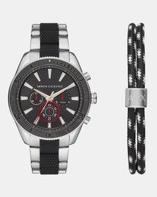 Armani Exchange Enzo Watch and Two-tone Steel Bracelet Multi