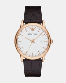 Emporio Armani Luigi Leather Watch Dark Brown