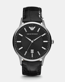 Emporio Armani Renato Leather Watch Black