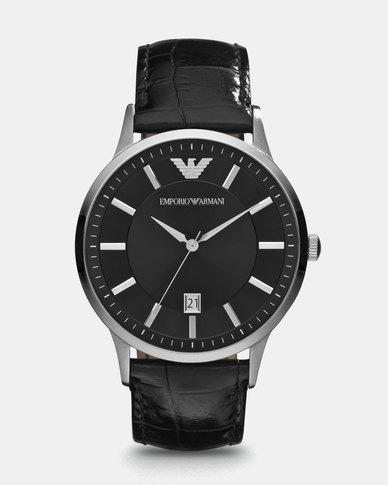 6ac1f1f0ecb9a Emporio Armani Renato Leather Watch Black | Zando