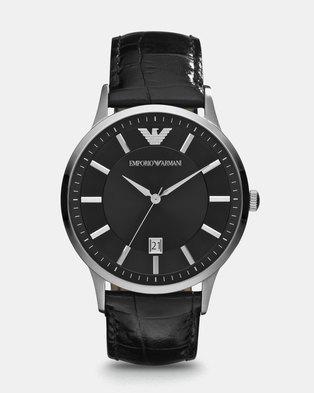 560b91443a45 Emporio Armani Renato Leather Watch Black