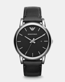 Emporio Armani Luigi Leather Watch Black