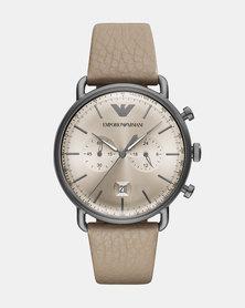 Emporio Armani Aviator Leather Watch Grey