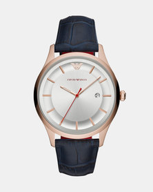 Emporio Armani Lambda Leather Watch Blue