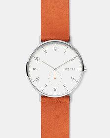 Skagen Aaren Leather Watch Orange