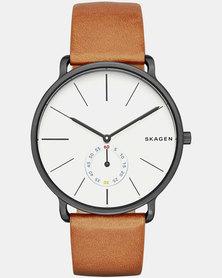 Skagen Hagen Leather Watch Dark Brown