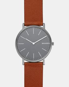 Skagen Signature Leather Watch Brown