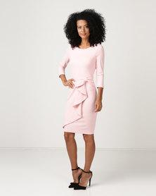 City Goddess London Waterfall Peplum Quarter Sleeve Midi Dress Pink