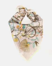 You & I Flower Print Silky Touch Square Scarf Grey/Yellow