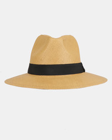 You & I Plain Band Panama Hat Dark Natural