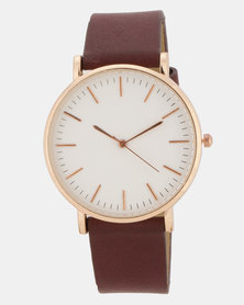 You & I PU Wide Strap Watch Maroon/Rose Gold-Toned