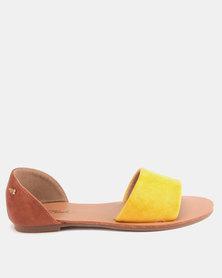 Miss Black Mbali Flat Sandals Yellow