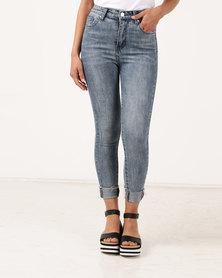 Unseen Brunch Club Skinny Jeans Acid Navy Wash