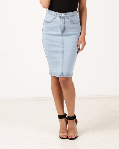 Unseen Monaco Denim Skirt Acid Wash Blue