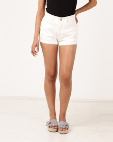 Unseen Chelsea High Waisted Shorts White