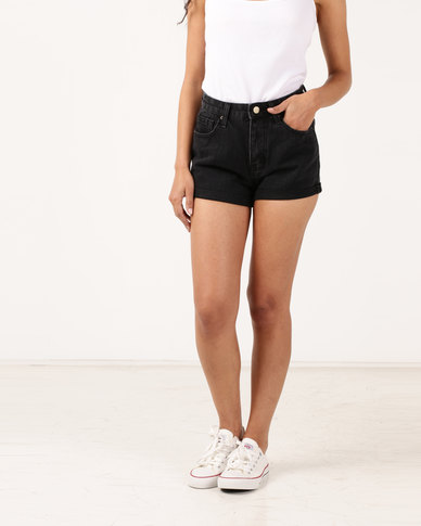 Unseen Chelsea High Waisted Shorts Washed Black