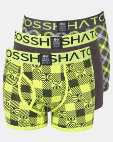 Crosshatch Checkzone 3Pk Bodyshort Yellow