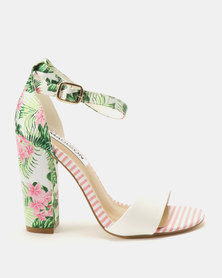 Madison Dominique Fabric Combo Heeled Sandals Floral Pink/Stripe