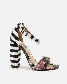 Madison Dominique Fabric Combo Heeled Sandals Floral/Stripe