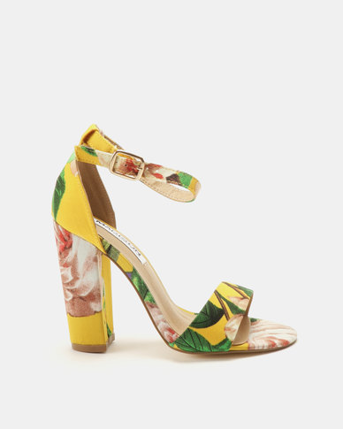 Madison Dominique Fabric Combo Heeled Sandals Yellow Print