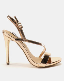 Madison Sandra Diagonal Strappy Heeled Sandals Rose Gold